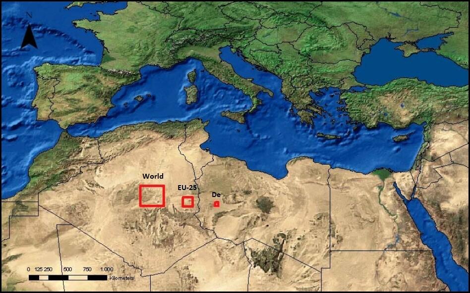 Theoretischer Platzbedarf für Solarkraftwerke