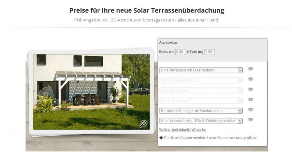 Solar Terrassendach Rechner